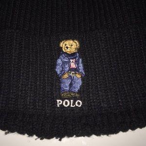 Ralph Lauren POLO Bear Knit Stocking Cap Hat Black